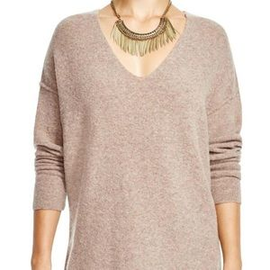 {Free People} sz S softly vee sweater in taupe